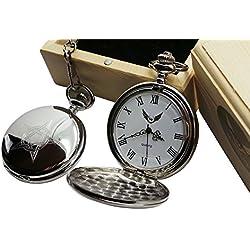 Pentagram Silver Pocket Watch Luxury Gift in Case wooden box Witchcraft Tarot Gothic Occult Magic