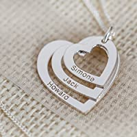 Solid 9ct White Gold Personalised Three Hearts Pendant Necklace With Optional Chain In Gift Box