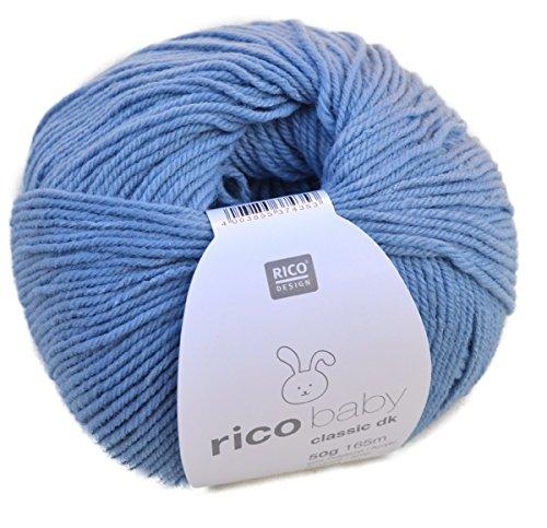 Rico Baby classic dk Farbe 14 blau weiche Babywolle, Wolle zum Stricken und Häkeln -