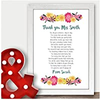 Thank You Teacher Gift Word Art Personalised Head Childminder Assistant Gifts - Thank You Gifts for Teachers, Teaching Assistants, TA, Nursery Teachers - ANY RECIPIENT from ANY NAME - A5, A4, A3 Prints and Frames - 18mm Wooden Blocks - FREE Personalisation