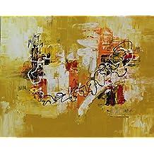 Angie Decoration Abtracto Cuadro, Acrílico, Mostaza, 100x80 cm
