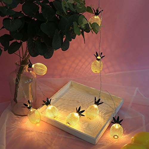 Prevently 1,5 M10LED Ananas Lichterkette Batteriebetrieben LED String Light Partylichterkette für Weihnachtsbaum, Weihnachtsdeko, Hochzeit, Geburtstags, Party -