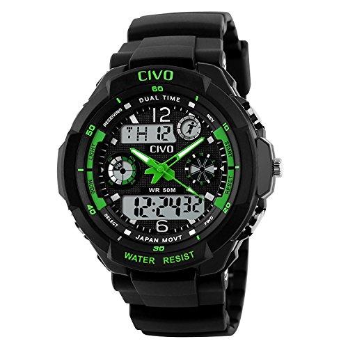 CIVO-Mnner-Jungen-Frauen-Mdchen-Kinder-Mode-Einfach-LED-Analog-Sportuhr-Digital-Armbanduhr-Wasserdichte-Casual-Militr-Herren-Tactical-Uhr-Silikonband-Kalender-Wecker-fr-Herren-Uhren-Grn