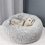 Blivener Deluxe Pet Bed for Cats and Dogs Plush Donut Pet Bed Warm Cuddler Kennel Soft Puppy Sofa Cat Cushion Bed Sleeping Bag Light Grey 70cm in diameter