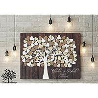 80x60 cm, Leinwanddruck-Gästebuch, Hochzeitsbaum, Wedding Tree, Rustikales Gästebuch, Leinwanddruck - Baum, Keilrahmen und Holz Motiv