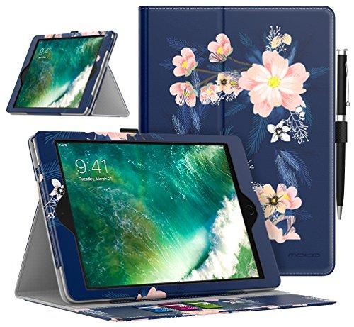 Galleria fotografica MoKo Case per iPad 2017/2018 9.7 - Custodia Leggero Cover Antiurti Supporto Protezione per Apple New iPad 2017/2018 9.7 / iPad Air / iPad Air 2 Tablet - FIORE NOTTURNO (con Auto Sveglia / Sonno)