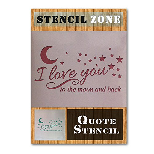 Love You To The Moon And Back Vintage Shabby Chic Mylar Art Wand Schablone, plastik, A5 Size Stencil - XSmall (Royal Design Wand Schablone)