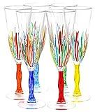 CALICE FLUTE FIRE Murano Glas Gläser Proseccogläser Handbemalt Venedig Made Italy