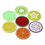 SIENOC 7 bunte Frucht-Scheiben Silikon-kreative Untersetzer für Getränke und Kaffee besonders Entwurf für Ihre Stab-Küche und Patio
