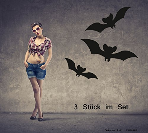 Adesivo da parete adesivi Halloween bat pipistrello Set di 3 Blu acciaio