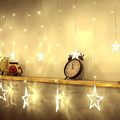 GlobaLink® Guirlande Lumineuse décoration avec 12 Etoiles 2M Chaîne de Lumière Prise EU 8 Modes pour Noël, Fête, Vacances, Mariages, Fenêtres, Rideaux, Décoration Extérieur et Intérieur (Blanc chaude)