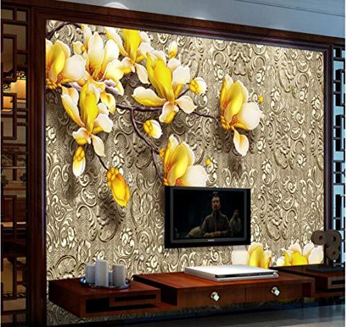 Wandbild 3D Benutzerdefinierte Fototapete Wandmalerei Aufkleber Magnolie Blume Metall Hintergrund Tapete Skulptur (1 Suqare Meter) -