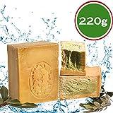 Jabón original Aleppo 220 g, 50% aceite de laurel, 50% aceite de oliva. Jabón natural, jabón de ducha, jabón de afeitar, receta tradicional de Orient.