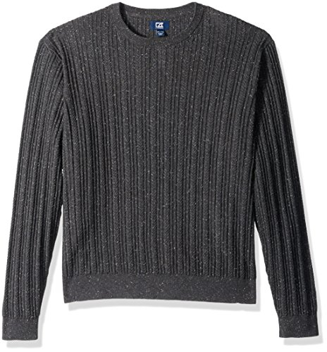Cutter & Buck Herren Long Sleeve Carlton Cable Knit Crewneck Sweater Pullover, anthrazit, Mittel -