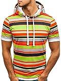 BOLF Herren T-Shirt mit Aufdruck Regulierbare Kapuze Täglicher Stil 08L Mehrfarbig L [3C3]