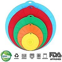 Tapas de Silicona, reutilizables Cubiertas para tazones de silicona succión para cuencos, ollas, tazas y cubiertas para alimentos de microondas Combo, aprobado por la FDA