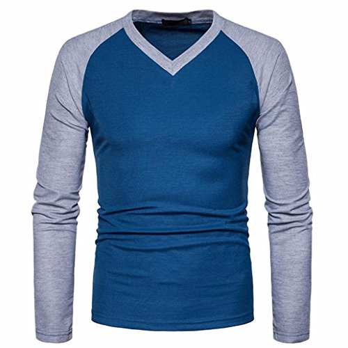 Herren Übergang Langarmshirts VENMO Herren Lässig Baumwollmischung Tops Langarm-Shirt Slim Fit V-Ausschnitt Patchwork Bluse Sweatshirt Langarmshirt Pullover Warm Langarmshirt Tee (XL, Blue)