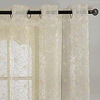 Top Finel cortina transparente de tratamientos para ventana panele bordado de lunares nido de pájaro 195 cm anchura por 215 cm longitud,amarillo claro,de ojales,solo panel