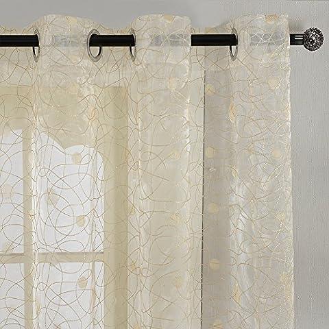 Top Finel Rideaux Voilages de Fenêtre Broderie Motif Points Nid d'oiseau 300x250 cm, à oeillets , Jaune Clair, Un Panneau