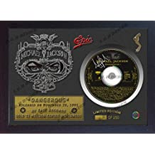 "Michael Jackson firmada foto enmarcada y ""peligroso"" CD disco presentación pantalla"