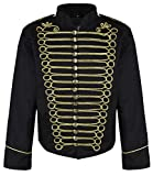 Herren Steampunk Napoleon Offizier Parade Jacke (Herr XS, Schwarz & Gold)