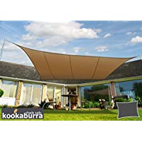 Kookaburra Toldo Vela de Sombra Para Jardín - Impermeable - 3m x 2m Rectangular Moca