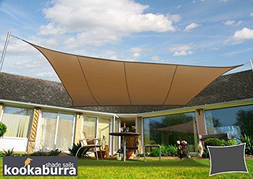 Kookaburra Wasserfest Sonnensegel 3,0m x 2,0m Rechteck Mokka