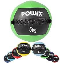 Wall Ball Balón Medicinal 2 - 10 kg - Ideal para los ejercicios de Functional fitness - (5 kg / Verde)