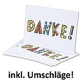 10x naturweiße moderne Dankeskarten DIN A6//Einfachkarten/Postkarte//Inklusive weißen Umschlägen//14,8 x 10,5 cm