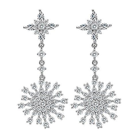 EVER FAITH Women's 925 Sterling Silver CZ Luxury Winter Christmas Snowflake Flower Dangle Earrings