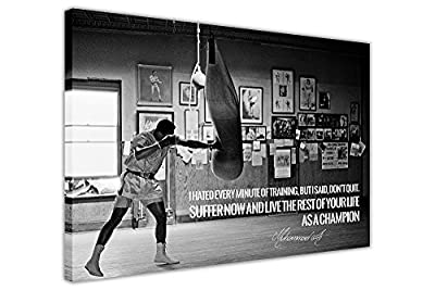 Black White Muhammad Ali Champion Quote Canvas Wall Art Prints Room Decoration Pictures produced by CANVAS IT UP - quick delivery from UK.