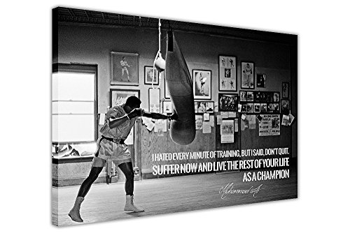 CANVAS IT UP Schwarz Weiß Muhammad Ali Champion Zitat Leinwand Wand Art Prints Zimmer Dekoration Bilder -