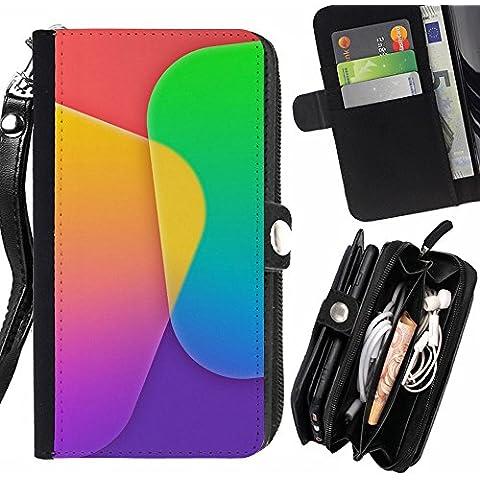 Peach Tech Portafoglio in pelle della Carta di Credito fessure PU Holster Cover in pelle case HTC One E9+ (E9 Plus) / Colorful App Tiles