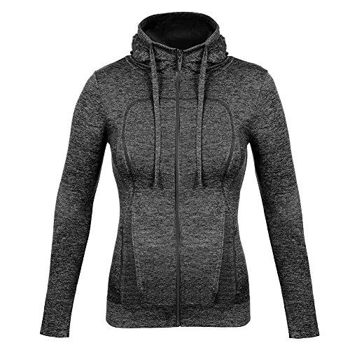 Fitibest Damen voll Reißverschluss Langarmshirt Sport Funktionsshirt Trainingsjacke Sportjacke,Yoga Fitness Laufen Gr.S bis L