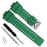 Natural Resin Replacement Watch Band Strap for Casio Mens G-Shock GD120/GA-100/GA-110/GA-100C (Green)