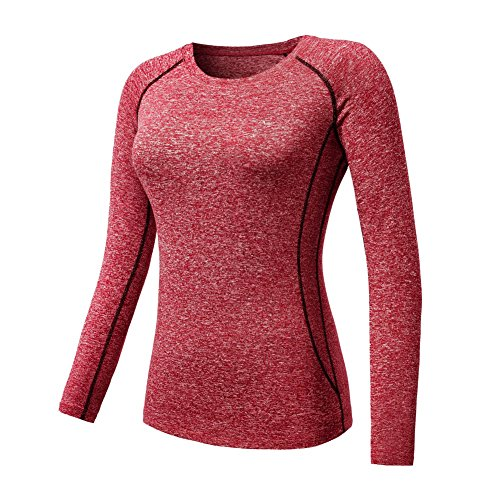 ESHOO Femmes Top de Sport a Manches Longue T-shirt de Compression Gym Quick-Dry Yoga Course Tops