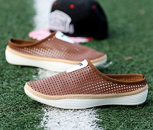 YOUJIA Unisex Sommer Casual Atmungsaktiv Clogs Strand Geschlossene Zehe Hausschuhe Pantoffeln Slippers #1 Braun