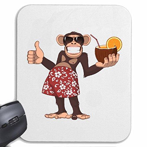 Mousepad (Mauspad) LUSTIGER AFFE MIT COCKTAIL IN KOKOSNUSS UND SONNENBRILLE MONKEY SCHIMPANSE AFFE GORILLA SILBERRÜCKEN MENSCHENAFFE CHARLY AFFEN KING KONG für ihren Laptop, Notebook oder I