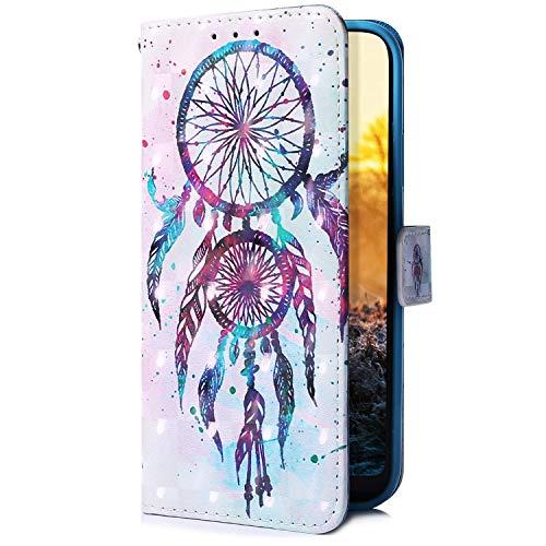Uposao Kompatibel mit Samsung Galaxy A50 Handyhülle Glitzer Bling 3D Bunt Leder Hülle Flip Schutzhülle Handytasche Brieftasche Wallet Bookstyle Case Magnet Ständer Kartenfach,Traumfänger