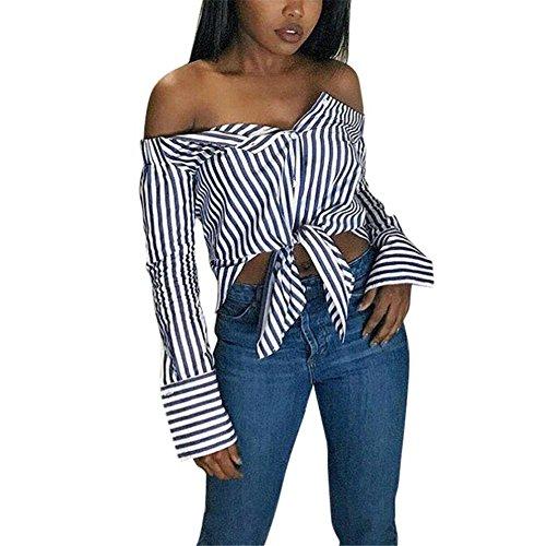 Damen Shirts, kimoog Herbst Lange Ärmel Off Schulter Streifen Button Bluse Casual Tops XL blau - Junioren Top