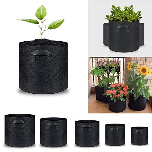 LENTIA Umweltfreundliche Pflanztasche Wiederverwendbar Pflanzsack gasdurchlässig Pflanzbeutel aus Vliesstoff Schwarz (XL)