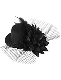 a0878f6d Pixnor Women's Ladies Flower Decor Hair Clip Feather Fascinator Burlesque  Punk Mini Top Hat - One