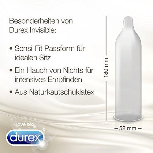 Durex Invisible Kondome, extra dünn für intensives Empfinden, 12er Pack (1 x 12 Stück) - 3