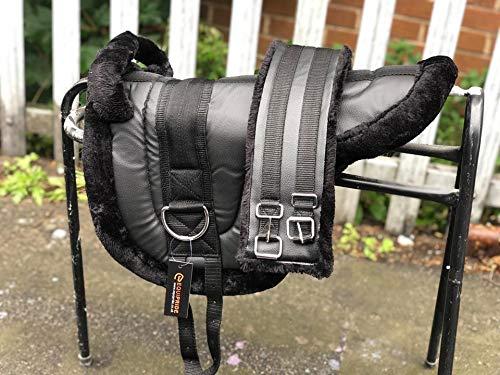 Equipride Ridiing Bareback Pad Shetland & Mini Pferde-Sattel mit Gurt, Kunstnerzimitat, Schwarz (Mini Bareback)