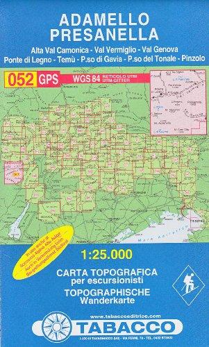 52 Adamello, Presanella, 1:25.000 randonnée topographique, le cyclisme et le ski de randonnée carte (Dolomites, Alpes)