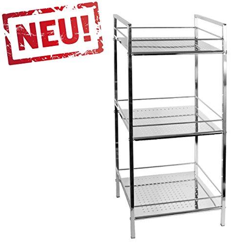 modernes Badregal Küchenregal Badezimmer Standregal mit 3 Ablagen - Regal und Fächer aus Metall - CHROM