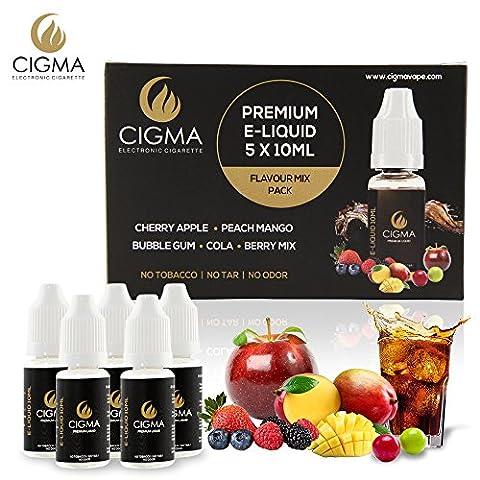 CIGMA 5 X 10 ml E Liquide Pack Arômes | Bubble Gum | Cola | Café | Mangue | Vanille | Nouvelle Formule Qualité supérieure faite avec seulement des ingrédients de qualité supérieure | Adapté à la cigarette électronique et à la E Chicha