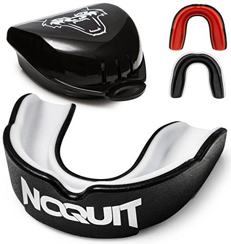NOQUIT ® Zahnschutz mit hygienischer Aufbewahrungsbox - anpassbarer Mundschutz für Erwachsene - perfekt für Boxen, MMA, Muay Thai, American Football & Hockey inkl. Anleitung (Schwarz / Weiß) Mma Schutzausrüstung
