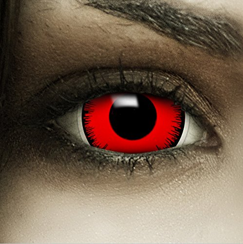 """Mini Sclera Kontaktlinsen""""Volturi"""" + Kunstblut Kapseln + Behälter von FXContacts in rot, weich, ohne Stärke als 2er Pack - farbige lenses perfekt zu Halloween, Karneval, Fasching oder Fastnacht"""