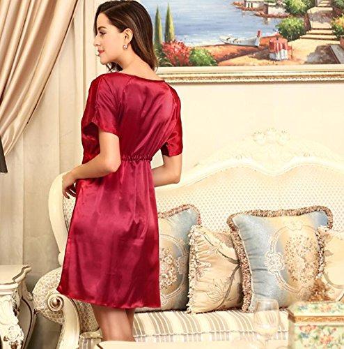 LJ&L Sommer-silk Nightgown silk Pyjamas der Frauen Größe V-Ausschnitt Kleid Bad dünne Taille Spitze war,pink,one size Red